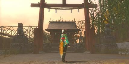 レトロ風テーマの神社の画像