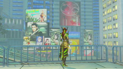 銅雀台近くのビルにあるスクリーン