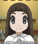 サンムーン女主人公の髪型ストレートロング・色ダークブラウン(前髪ぱっつん)