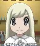 サンムーン女主人公の髪型ストレートロング・色プラチナブロンド(前髪おろして)