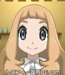 サンムーン女主人公の髪型ウェーブロング・色ライトベージュ(前髪ぱっつん)