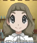 サンムーン女主人公の髪型ミディアムパーマ・色アッシュブラウン(前髪ぱっつん)