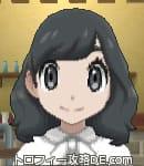 サンムーン女主人公の髪型ミディアムパーマ・ブラック(前髪おろして)