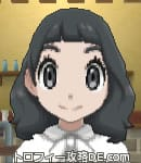 サンムーン女主人公の髪型ミディアムパーマ・色ブラック(前髪ぱっつん)
