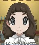 サンムーン女主人公の髪型ミディアムパーマ・色ダークブラウン(前髪ぱっつん)