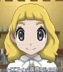 サンムーン女主人公の髪型ミディアムパーマ・色ゴールド(前髪ぱっつん)
