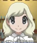 サンムーン女主人公の髪型ミディアムパーマ・色プラチナブロンド(前髪おろして)