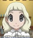 サンムーン女主人公の髪型ミディアムパーマ・色プラチナブロンド(前髪ぱっつん)