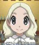 サンムーン女主人公の髪型ミディアムパーマ・色プラチナブロンド(前髪すっきり)
