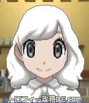 サンムーン女主人公の髪型ミディアムパーマ・色ホワイト(前髪おろして)