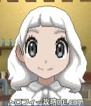 サンムーン女主人公の髪型ミディアムパーマ・色ホワイト(前髪ぱっつん)