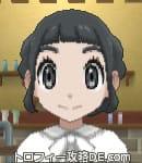 女の主人公の髪型ギブソンタック(前髪ぱっつん)