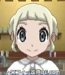 サンムーン女主人公の髪型ギブソンタック・色プラチナブロンド(前髪ぱっつん)