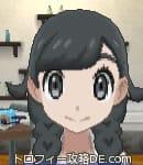 サンムーン女主人公の髪型リゾートツインテール・ブラック(前髪おろして)