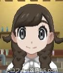 サンムーン女主人公の髪型リゾートツインテール・色ダークブラウン(前髪おろして)